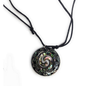 Paua Shell Pendant with Cord - Makana Hut