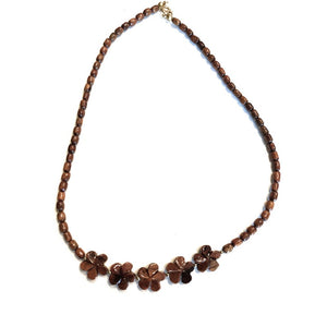 Koa with Plumeria Necklace (2 Sizes)