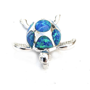 Hawaiian 3D Honu with Blue Opal Pendant - Makana Hut
