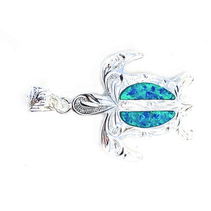 Hawaiian Honu with Blue Opal | Pendant - Makana Hut