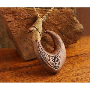 Koa Wood Fish Hook | Hawaiian Makau - Makana Hut