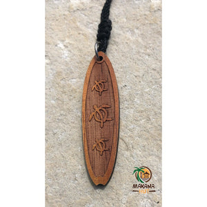 Koa Wood Surfboard w/ Honu (Sea Turtle) - Makana Hut