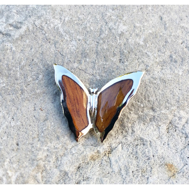 Koa Wood Inlayed Butterfly Necklace