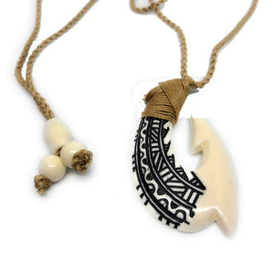 Buffalo Bone Fish Hook w/ Engravings - Makana Hut