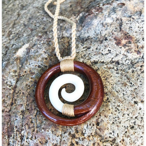 Koa and Bone Spiral Necklace