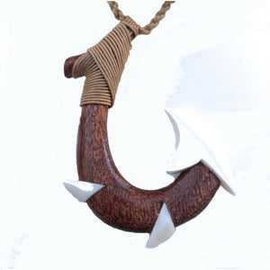 Koa Wood and Bone Makau (Fish Hook) - Makana Hut