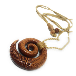 Koa Wood Swirl Necklace with Engravings