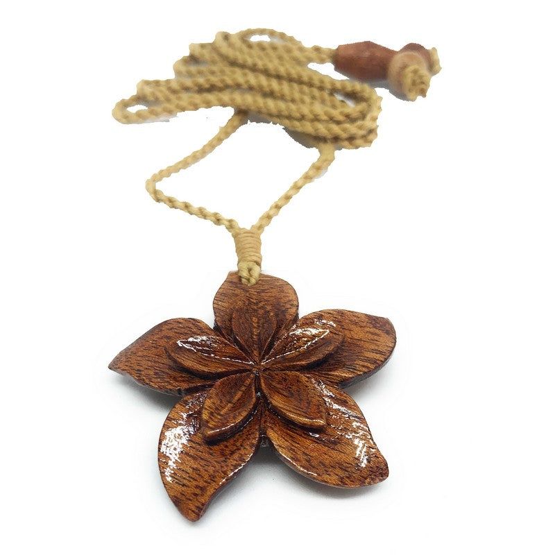 Koa Wood Hawaiian Flower Necklace