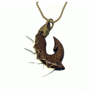 Koa Fish Hook with Shark Teeth | Necklace