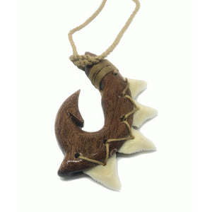 Koa Fish Hook with Shark Teeth | Necklace - Makana Hut