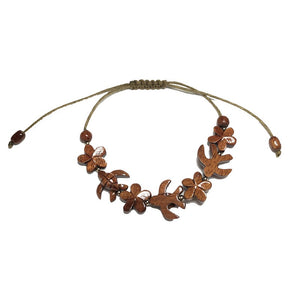 Koa Honu and Plumeria Flower Bracelet