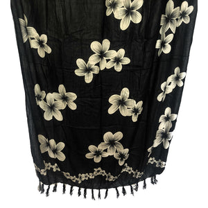 Black with Plumeria Flowers | Pareo