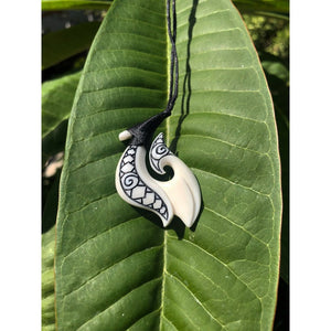 Bone Fish Hook with Engravings