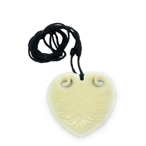 Bone Heart Pendant with Engravings
