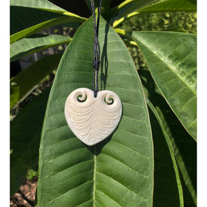 Bone Heart Pendant with Engravings - Makana Hut