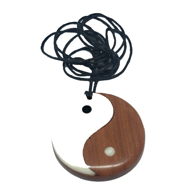 Wood and Bone Yin Yang Necklace