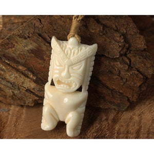 Bone Tiki Pendant Necklace