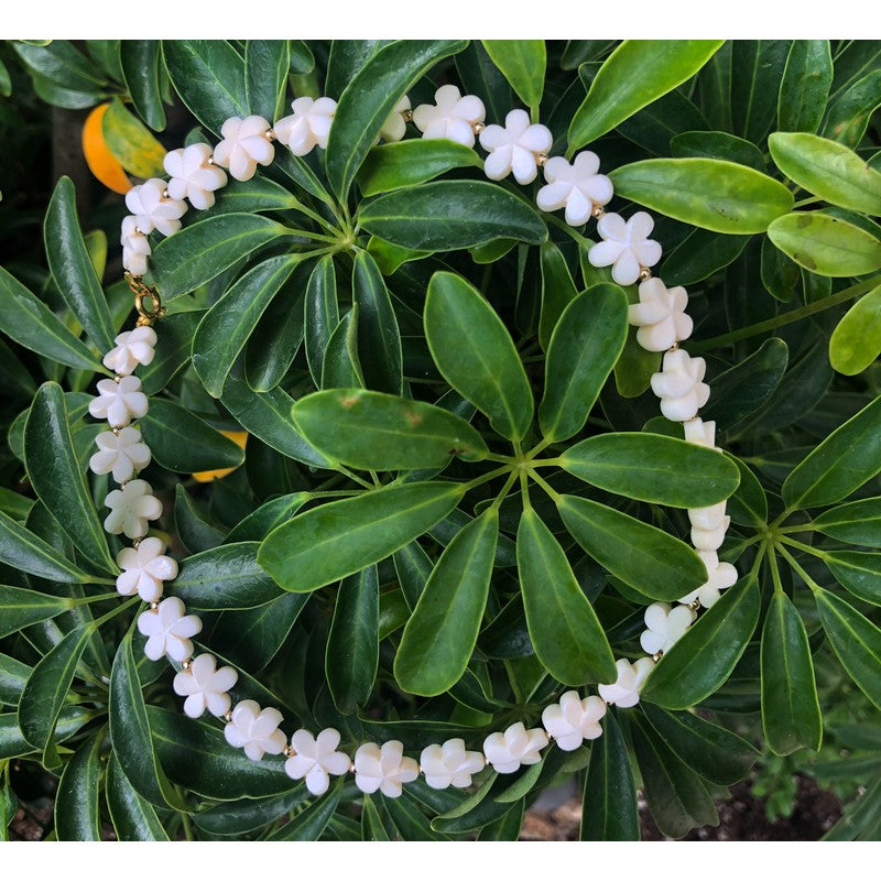 "Plumeria Flower Necklace | Tropical Jewelry 16"" - Makana Hut"