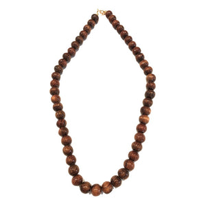 Koa Wood Round Bead Necklace