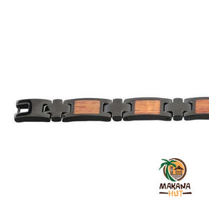Koa Wood Inlay Black Bracelet - Makana Hut