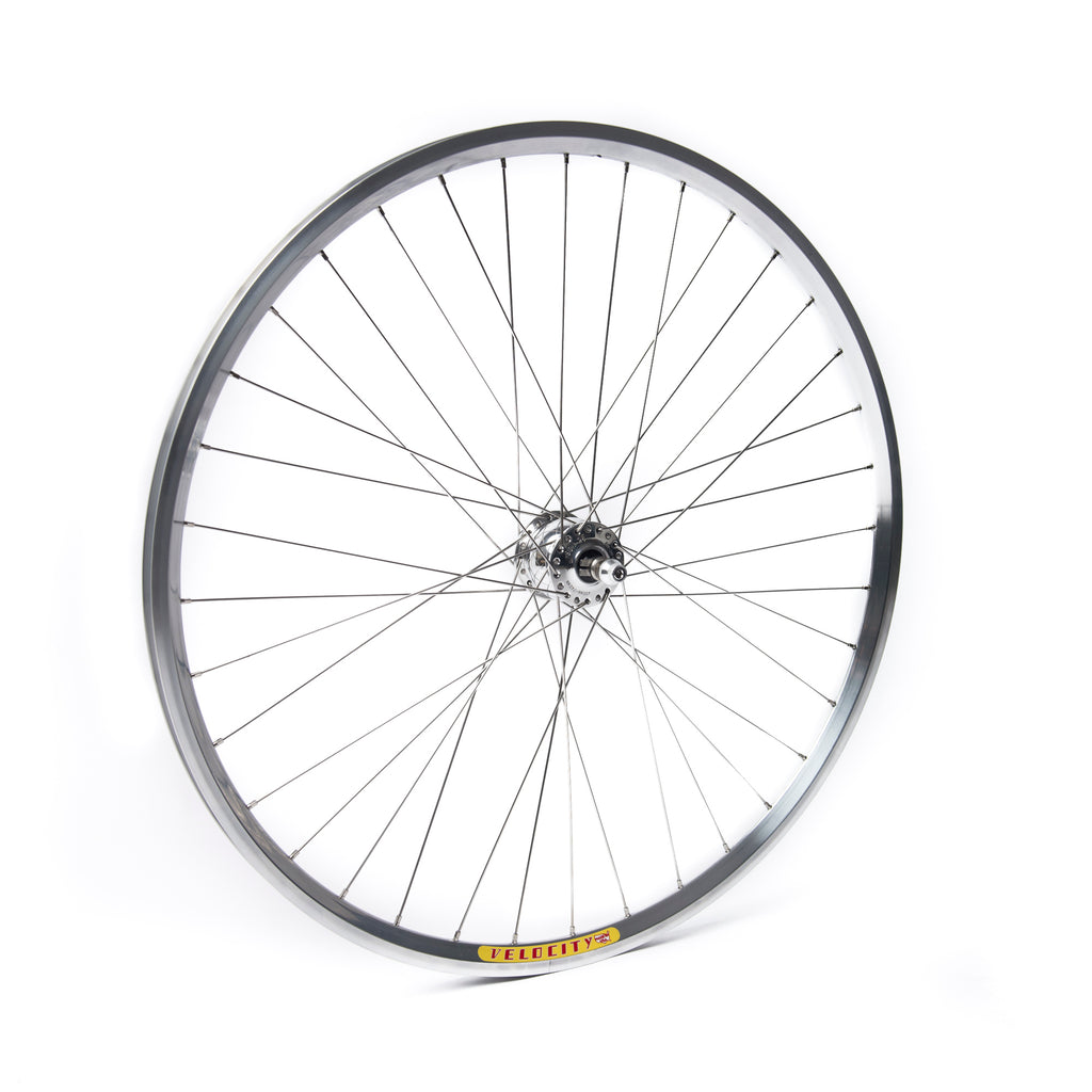 Schmidt SON28 Dyno (Rim Brake) Polished Hub / Velocity Dyad Polished Rim / DT Swiss Champion Stainless Steel Spokes