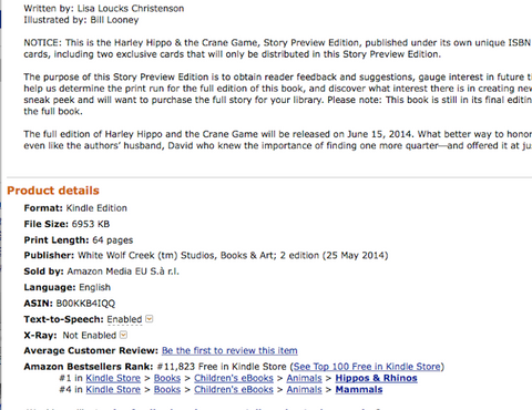 Harley Hippo & the Crane Game by Lisa Loucks-Christenson and Illustrated by Bill Looney hits #1 on Amazon