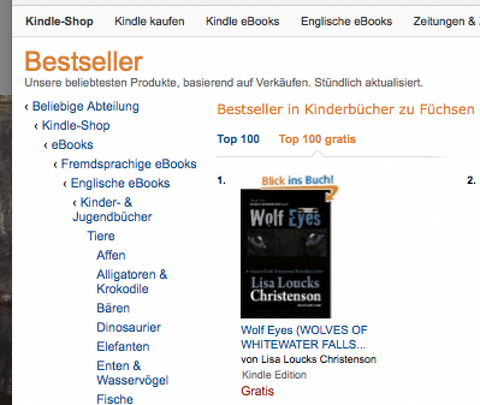 Lisa Loucks-Christenson's WOLF EYES, Book 4, Wolves of Whitewater Falls series hits #1 in Germany