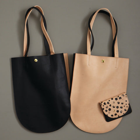 Minor History Half Moon Tote Black and Tan Leather