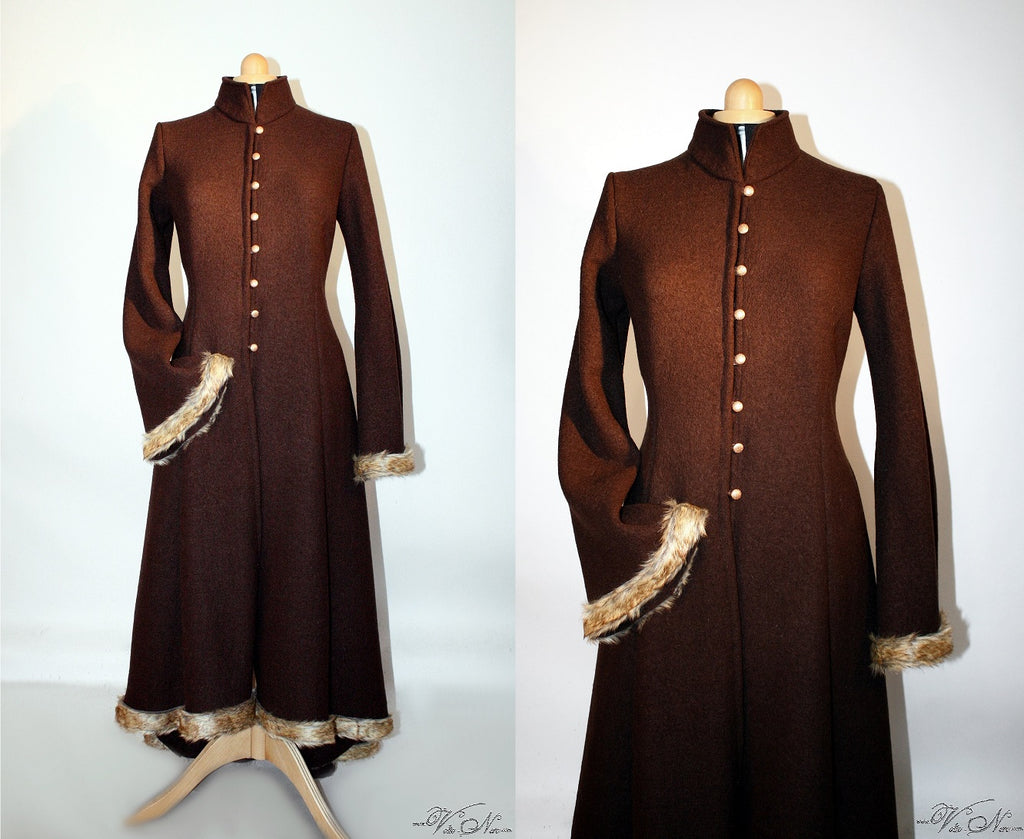 Long Ladies Medieval Wool Coat with Faux Fur Trim
