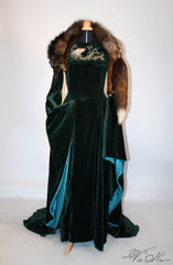 Sansa Stark Season 6 Game of Thrones Direwolf Velvet Gown Costume Dress