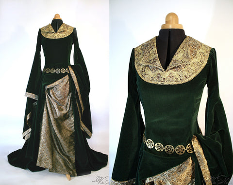 Eowyn Green Velvet Gown - The Lord of the Rings Costume Dress