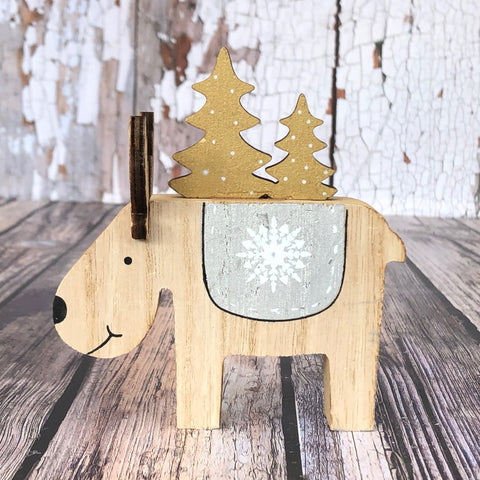 Wooden Reindeers with Trees
