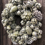 Waxed Mixed Fruits Wreath - Olive