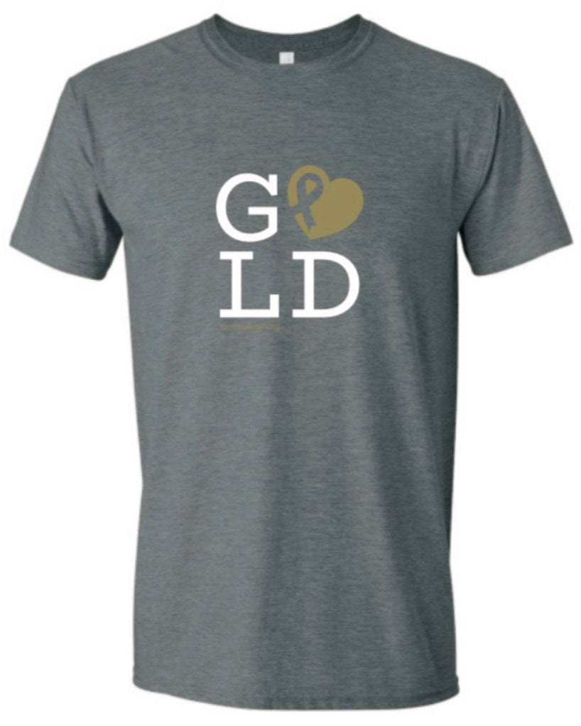 GOLD Metallic Heart Men's and Women's Soft T-Shirt