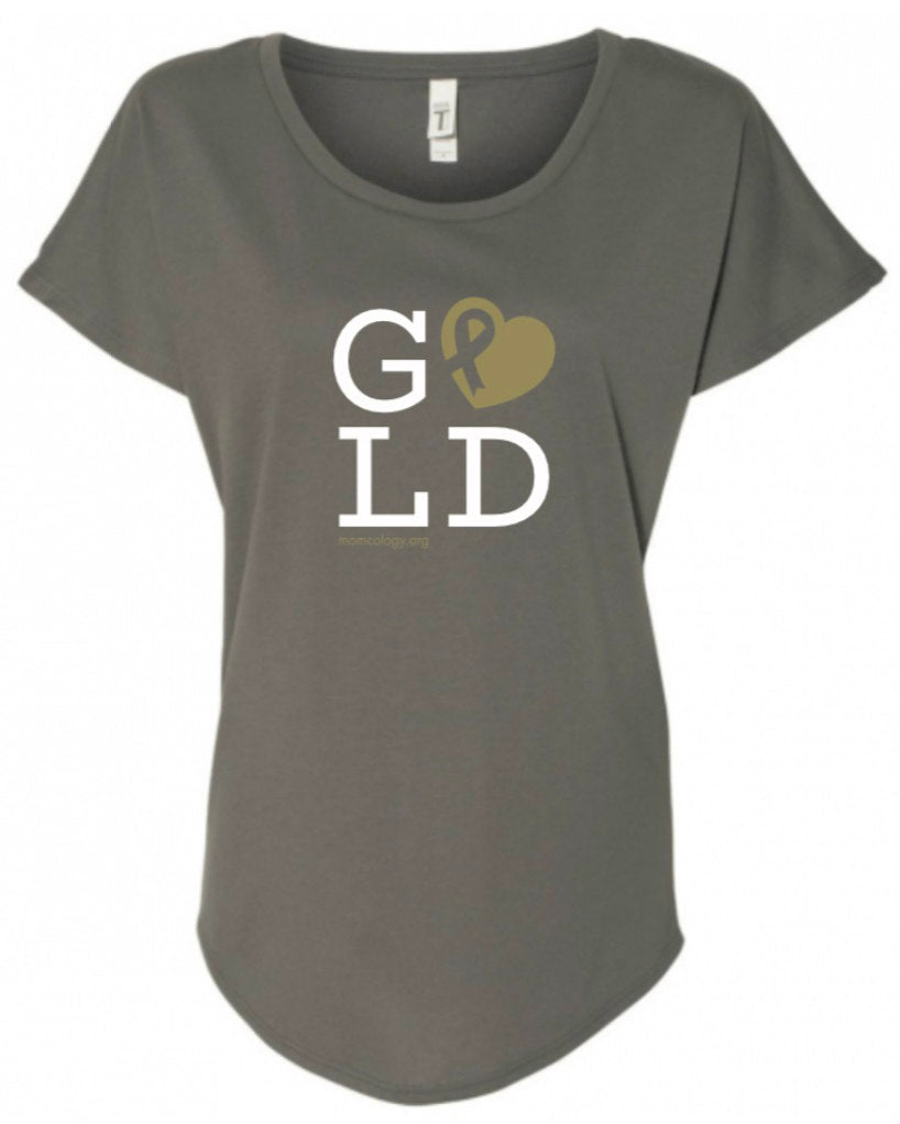 GOLD Metallic Heart Ladies Slouchy T-Shirt