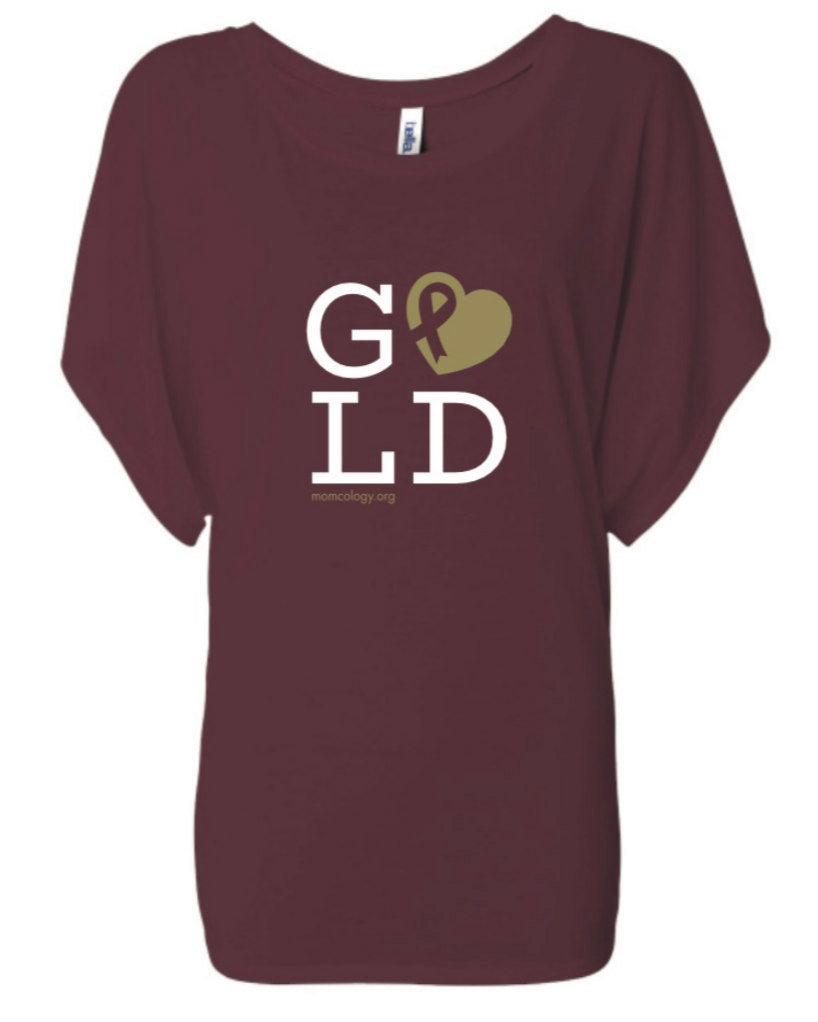 GOLD Metallic Heart Ladies Dolman