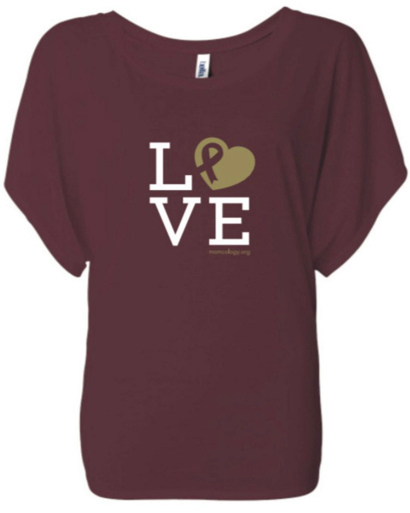 LOVE Metallic Heart Ladies Dolman
