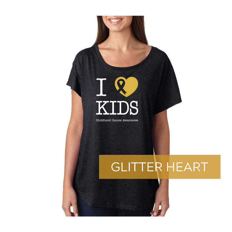 I LOVE KIDS T SHIRT W/ GLITTER GOLD