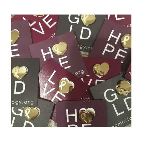 Gold Awareness Heart Lapel Pin Sets
