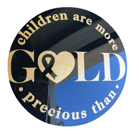 "Glitter Gold ""Children are more precious than gold"" car cling"