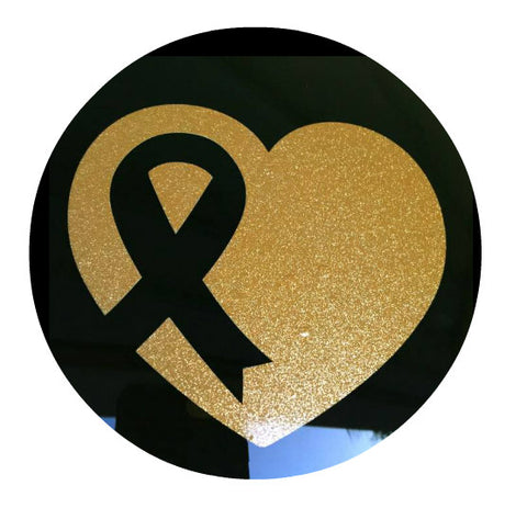 Glitter Gold Awareness Heart Car Cling