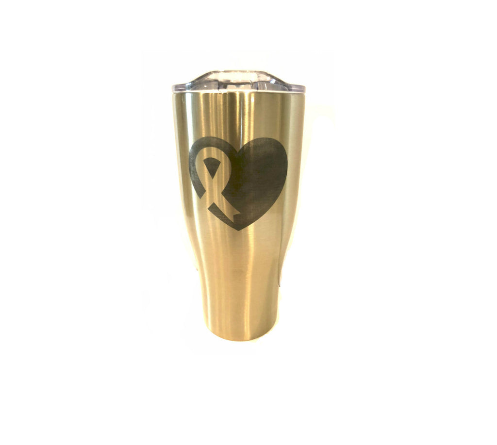 Gold Awareness Heart Tumbler 27oz.