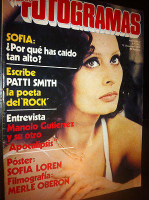 Fotogramas 1979 Rare Vintage Spanish Magazine SOPHIA Sofia LOREN Patty Smith