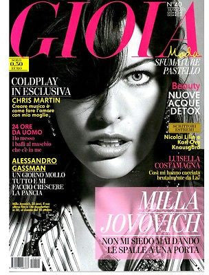 GIOIA Magazine October 2011 MILLA JOVOVICH Chris Martin COLDPLAY Alessandro Gassman