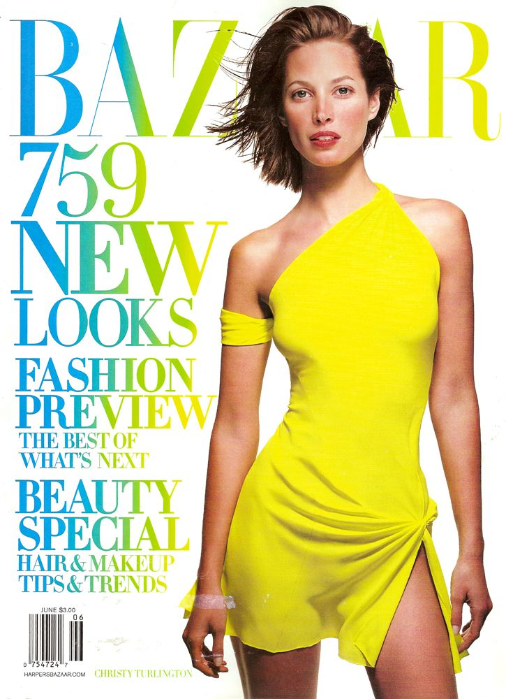 HARPER's Bazaar US Magazine June 2002 CHRISTY TURLINGTON Carolyn Murphy GISELE BUNDCHEN