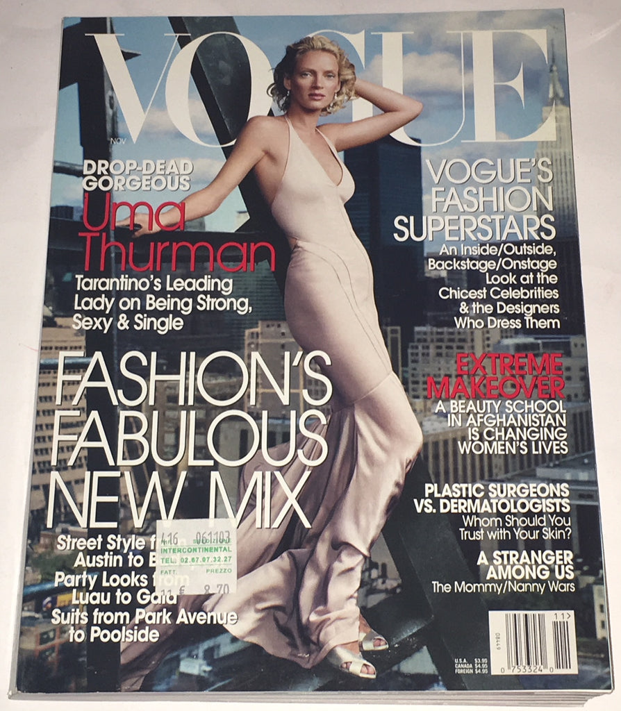 VOGUE US Magazine November 2003 UMA THURMAN Amber Valletta ANGELA LINDVALL