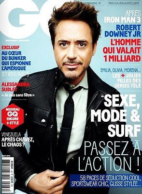 GQ France Magazine August 2013 ROBERT DOWNEY JR Guillaume Nery OLIVIA MUNN