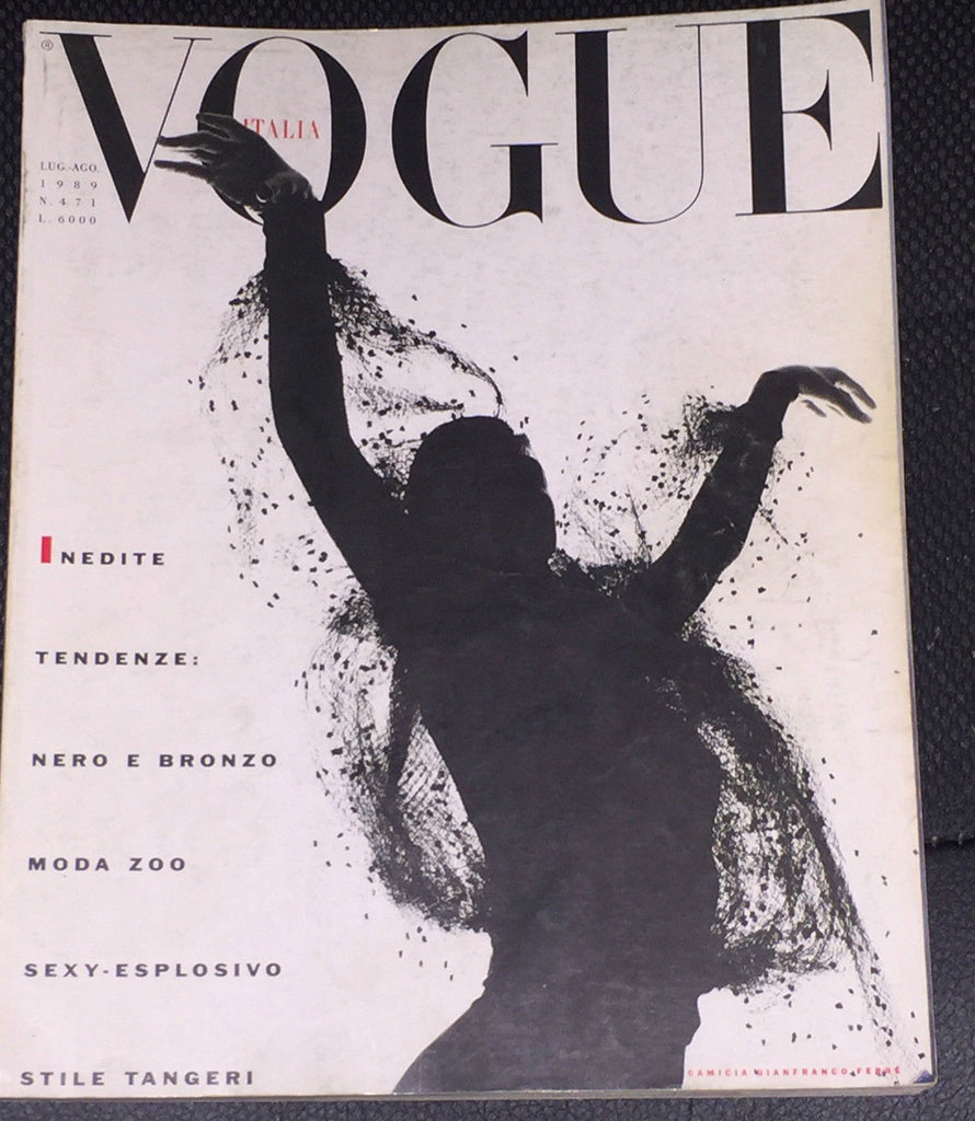 VOGUE Italia Magazine July 1989 CINDY CRAWFORD Fur NAOMI CAMPBELL Rosemary McGrotha