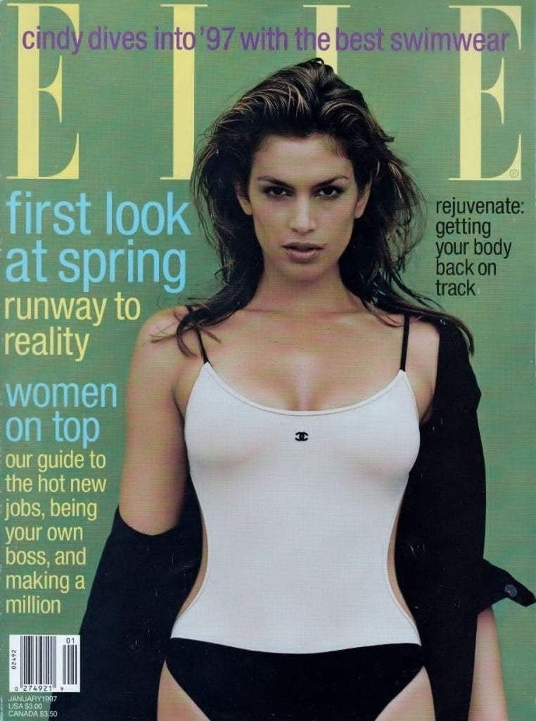 ELLE US Magazine January 1997 CINDY CRAWFORD Bridget Hall ANGELA LINDVALL Mini Anden