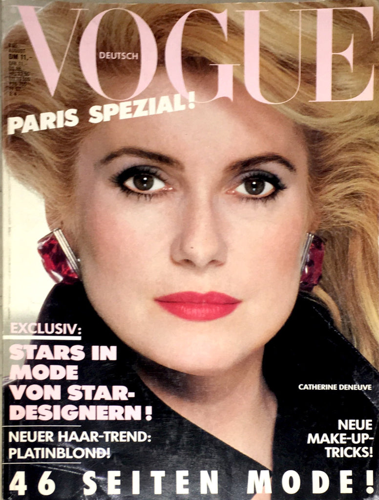 VOGUE Germany Magazine August 1985 CATHERINE DENEUVE Carole Bouquet KRISTEN MCMENAMY